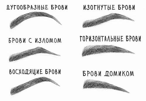 РАЗНОВИДНОСТИ ФОРМ БРОВЕЙ